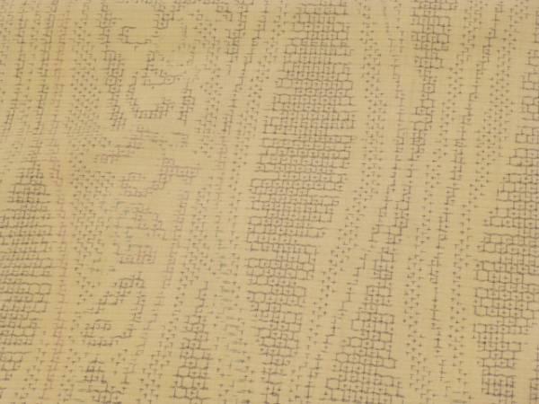 新品正絹★茨城県・奥順製・亀甲絣本真綿結城紬着尺★よろけ縞柄です_画像2
