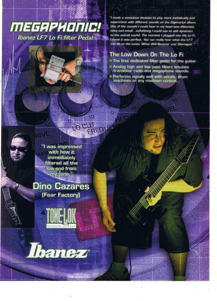 フィア・ファクトリ Ibaneze ギター USA 広告 2001年