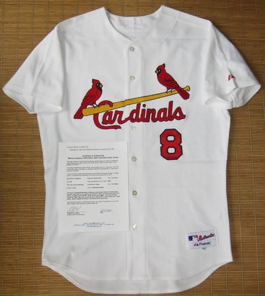 MLB 実使用 サイン入 2004カージナルス#8マーロン・アンダーソン~ユニフォーム フィリーズ デビルレイズ メッツ ナショナルズ ドジャース グッズの画像