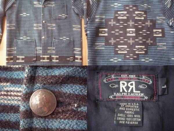 USA製 RRL ネイティブ柄 ラグ ジャケット L ダブルアールエル コンチョ ボタン ブルゾン インディアン 民族柄 POLO RALPH LAUREN ラルフ/_画像3
