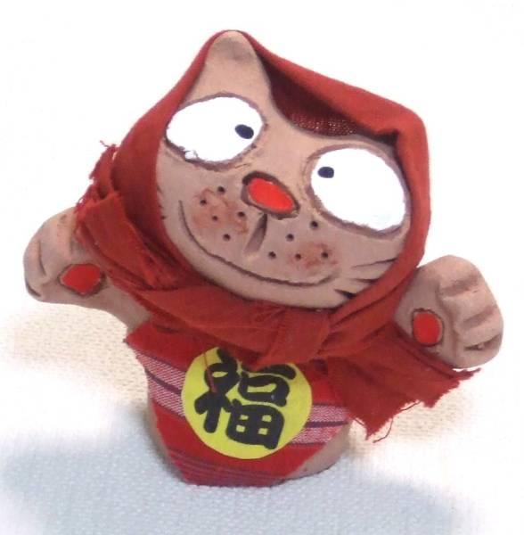 ★可愛いにゃ♪ 手拈り会津土人形 福招きねこ ブー ★在庫僅!★送料無料_画像2