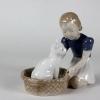 ロイヤルコペンハーゲン B&G フィギュア フィギュリン #2249 「バスケット の中の 猫 と 少女」北欧 デンマーク の 陶磁器 wwww6