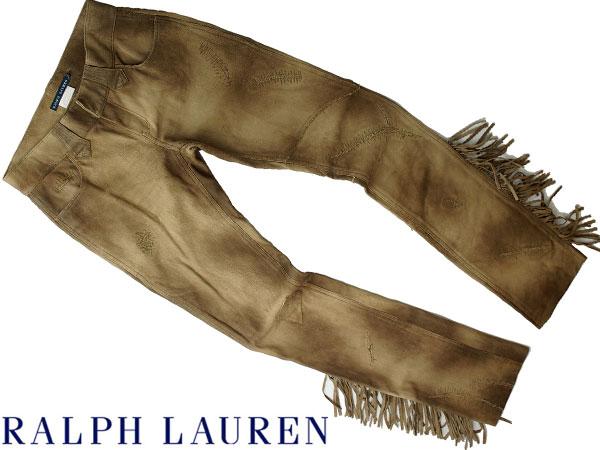 ■新品25万【RALPH LAUREN】贅沢レザーをたっぷりと使用した美しい陰影纏う最高級、ラルフローレン大人のフリンジキャッスルレザーパンツ6_画像1