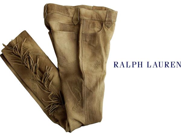 ■新品25万【RALPH LAUREN】贅沢レザーをたっぷりと使用した美しい陰影纏う最高級、ラルフローレン大人のフリンジキャッスルレザーパンツ6_画像2