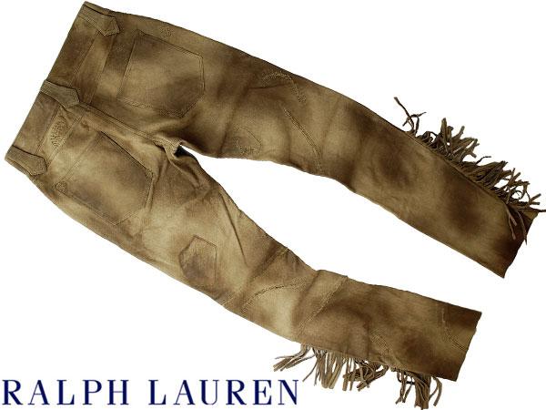 ■新品25万【RALPH LAUREN】贅沢レザーをたっぷりと使用した美しい陰影纏う最高級、ラルフローレン大人のフリンジキャッスルレザーパンツ6_画像3