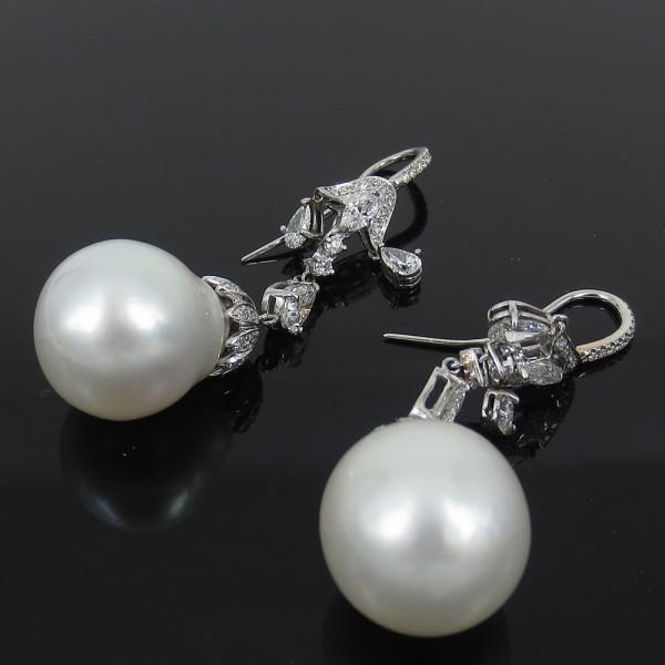新古《ダイヤモンド&淡水パール真珠》プラチナ・ドロップピアス_画像1