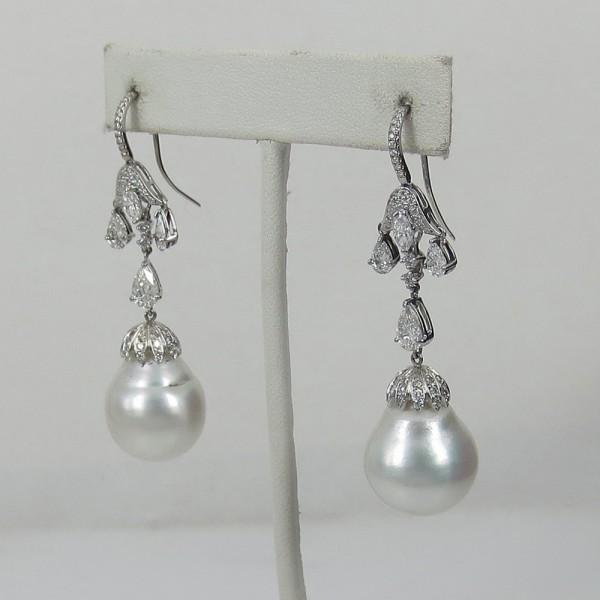 新古《ダイヤモンド&淡水パール真珠》プラチナ・ドロップピアス_画像3