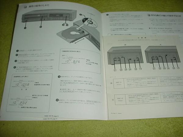 即決!マランツ CDプレーヤー CD-75の取扱説明書_画像3