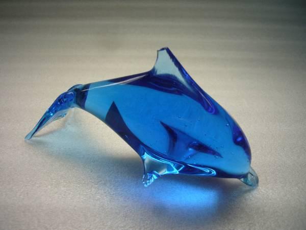 X ドルフィン イルカ ガラス置物 116mm ジャンク _画像1