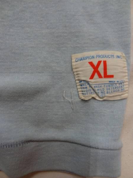 ビンテージ チャンピオン 希少 60S 70S プロダクツ バー タグ フットボール Tシャツ ロンT レア サイズ XL オメガ プリント ブルー 水色 _画像3