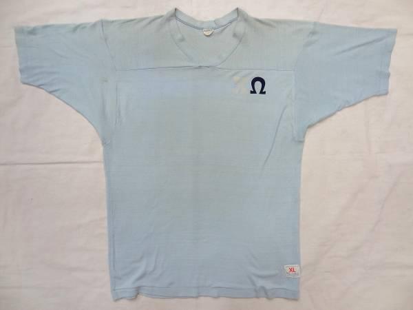ビンテージ チャンピオン 希少 60S 70S プロダクツ バー タグ フットボール Tシャツ ロンT レア サイズ XL オメガ プリント ブルー 水色 _画像1
