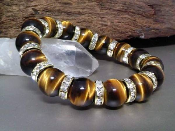 Tiger Eye 12 mm§gold rondelle 虎目石