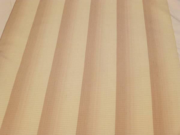 新品正絹反物★新潟県・十日町紬着尺★生成りと薄茶の縞柄です_画像2