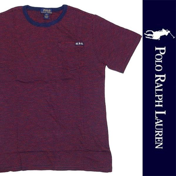 新品 POLO RALPH LAUREN BOYS S/S T-SHIRT ポロ ラルフローレン ボーイズ 半袖 Tシャツ レッド ネイビー ボーダー ポニー L 正規品 95B_画像1