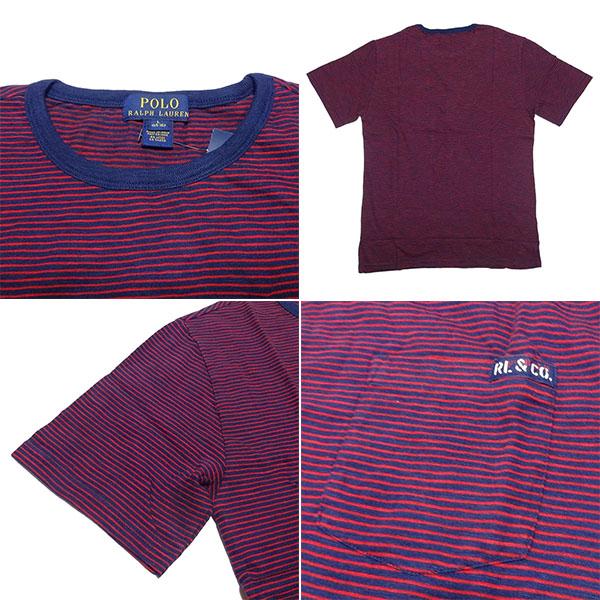 新品 POLO RALPH LAUREN BOYS S/S T-SHIRT ポロ ラルフローレン ボーイズ 半袖 Tシャツ レッド ネイビー ボーダー ポニー L 正規品 95B_画像2