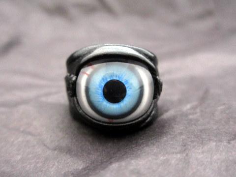 ネクロマンス■ブライトブルー義眼リング■Lサイズ■R287