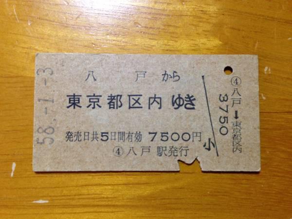 国鉄線 八戸駅-東京都区内■硬券乗車券 昭和58年1月3日