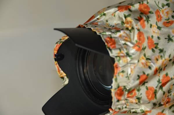 カメラ用レインカバー ズームレンズ用 花柄オレンジ色_画像2