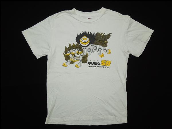 かりゆし58♪シーサープリント ロック Tシャツ ホワイト M◆1030