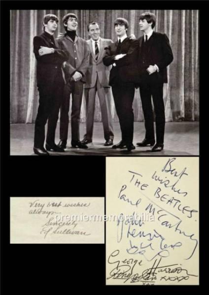 ビートルズ エドサリバン・ショー初出演1964年!サイン入り写真【Printed in England】 ライブグッズの画像