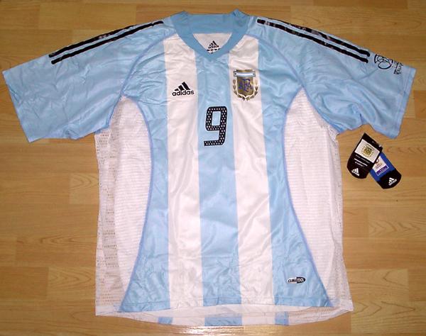 02W杯 アルゼンチン(H)#9 バティストゥータ BATISTUTA 選手用半袖 adidas正規 2002WC仕様 XL
