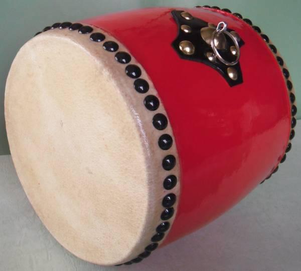 エイサー用 太鼓 直径18 (バチ1本付)_直径約18cm x 高さ約20cm