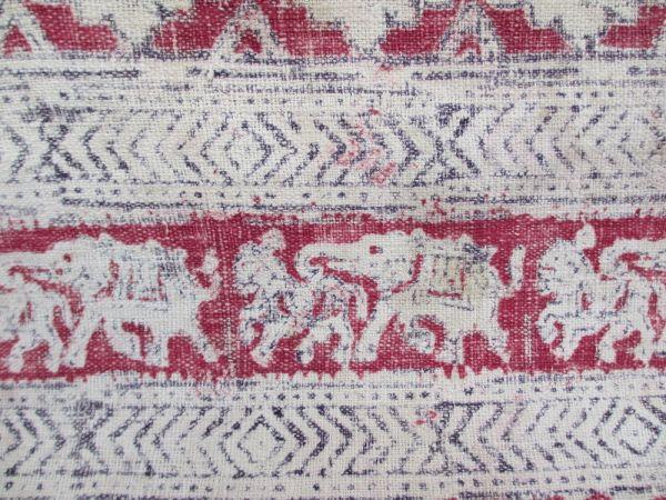インド 木綿更紗 象と馬模様 18世紀初期 状態良し_画像2