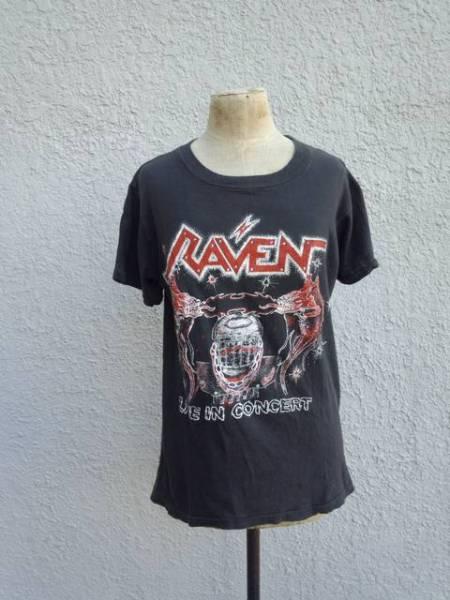 レイヴンRAVEN パキ綿 ビンテージ ヴィンテージ/バンド ロック Tシャツ 黒【即決】