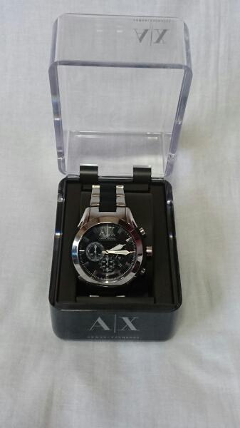 ARMANI EXCHANGE 時計 AX1214 アルマーニ 黒×シルバー 正規品 エクスチェンジ ブラック 黒 人気 Safari セレブ お洒落 ドレス