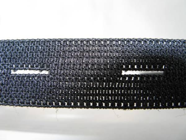 【新品】編み平ゴム/ボタンホールゴム/15mm/黒/5m/日本製_ゴムを伸ばしたとき 写真は18mm使用