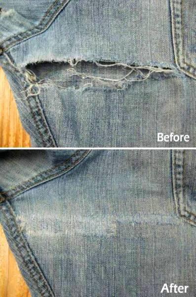 膝・太腿ダメージジーンズ修理/ファスナー交換/お手頃価格で承りますb_画像3