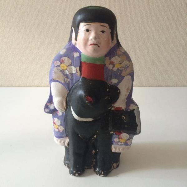 熊金 熊乗り金太郎 土人形 郷土玩具