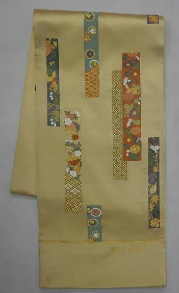 処分超特価:西陣橋本テル織物袋帯・献上草花文・芯入仕立付_画像1
