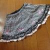メゾピアノ90 黒ギンガムチェック 刺繍スカート