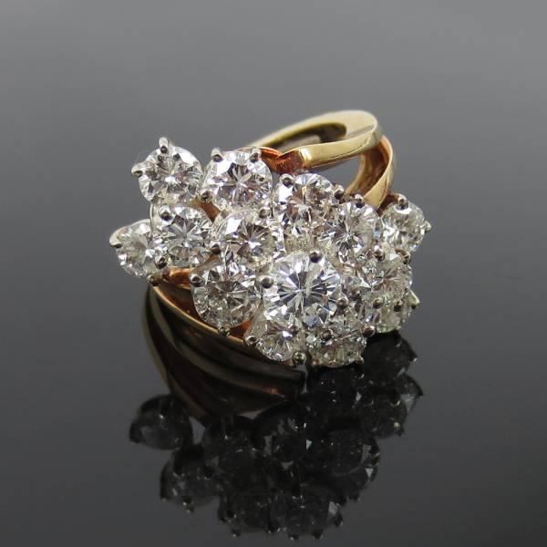 ヴィンテージ《5ctダイヤモンドGH/SI》18Kフラワーリング指輪_画像1