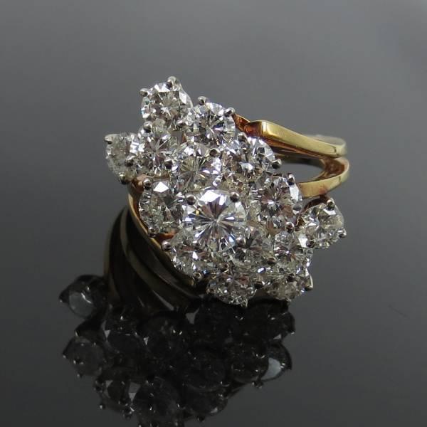 ヴィンテージ《5ctダイヤモンドGH/SI》18Kフラワーリング指輪_画像2