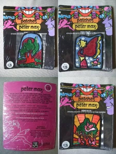 1972年 THE Peter Max / Patches 9枚 / ピーターマックス ワッペン / 当時物 / 未使用品 / ビンテージ ※台紙に反り有り_1972年 THE peter max patches 9枚