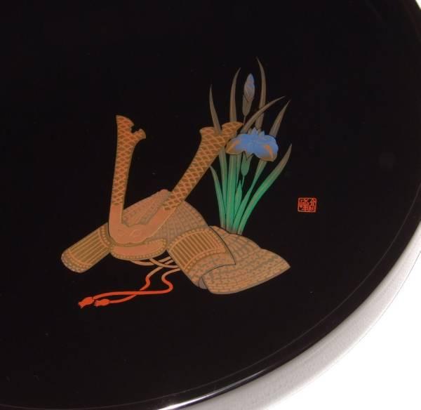 ★素敵です蒔絵の美★会津塗木製茶盆 かぶと蒔絵_画像1