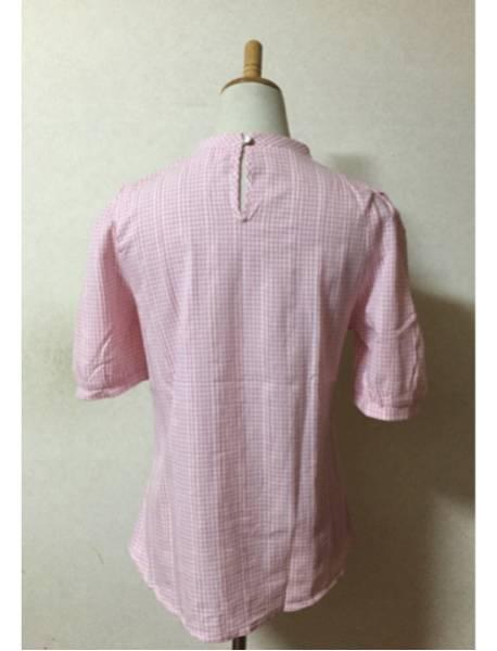 パラビオン ブラウストップスギンガムチェックParArion半袖パフスリーブ未使用美品ピンク系ワンサイズハイネックシャツレディース女性用_画像3