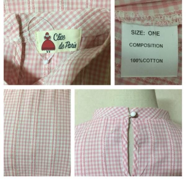パラビオン ブラウストップスギンガムチェックParArion半袖パフスリーブ未使用美品ピンク系ワンサイズハイネックシャツレディース女性用_画像2