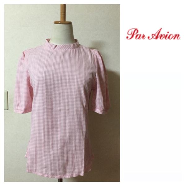 パラビオン ブラウストップスギンガムチェックParArion半袖パフスリーブ未使用美品ピンク系ワンサイズハイネックシャツレディース女性用_画像1