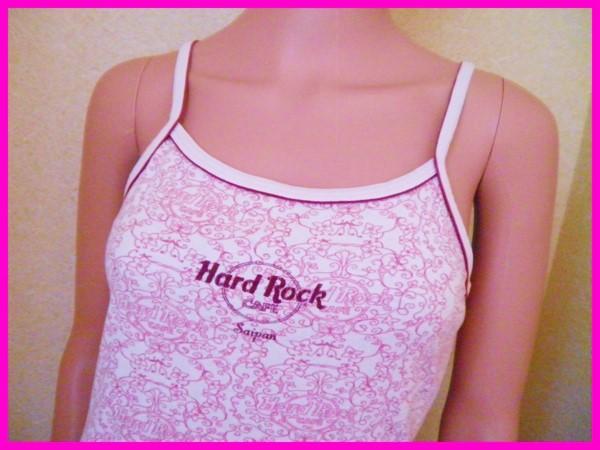 即決! 良品 USA製 ハードロックカフェ サイパン キャミソール レディースL Hard Rock CAFE サイパン土産