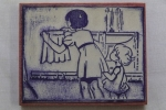 女の子 洗濯物 家事 手伝い アンティーク スタンプ 仏