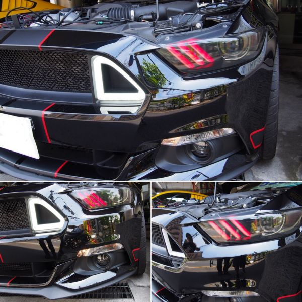 LED アッパー グリル 15-16y マスタング 2.3L V6 V8 GT 即決_画像2