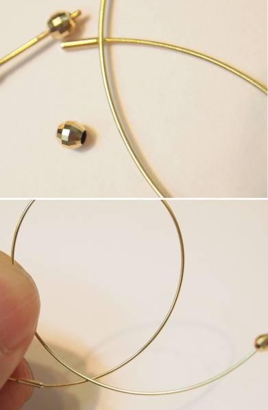 新品 送料無料 K18YG製 形状記憶 スリム フープ リング & ミラーボール ピアス/直径50mm/輪 イエローゴールド 地金/新品/細身_形状記憶素材の中芯入りで弾力性が有ります