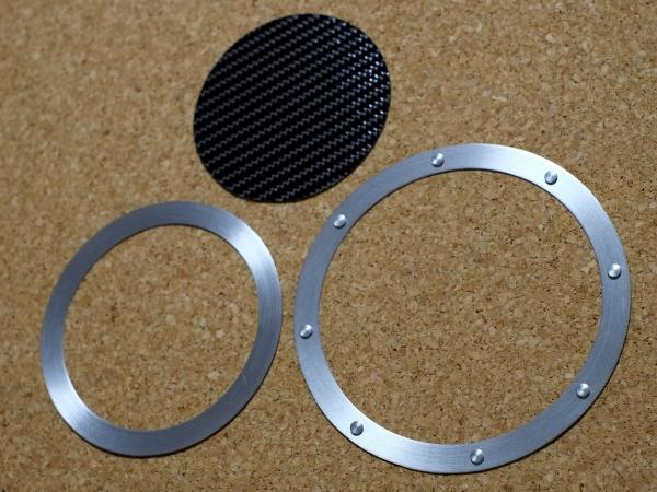 ホンダ N-ONE エヌワン JG1 JG2 フューエルリッド (給油口) アルミパネル0.3mm仕様 ブラックカーボン 黒 Nワン ヘアライン仕上 平リベット/_商品構成