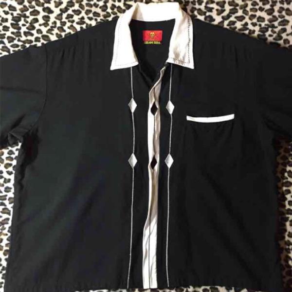 クリームソーダ/ピンクドラゴン ビンテージ金タグ オープンシャツ ブラックキャッツ Black Cats