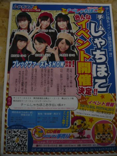 ★チームしゃちほこ★しゃちスポ2012.6/17-18号★B5チラシ★レア