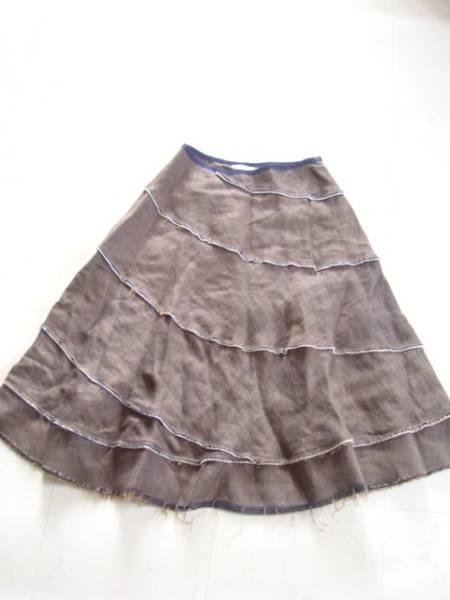 NATIONAL STANDARD たっぷりリネンスカート size1 パール フレアスカート ロング ナショナルスタンダード レディース 美品