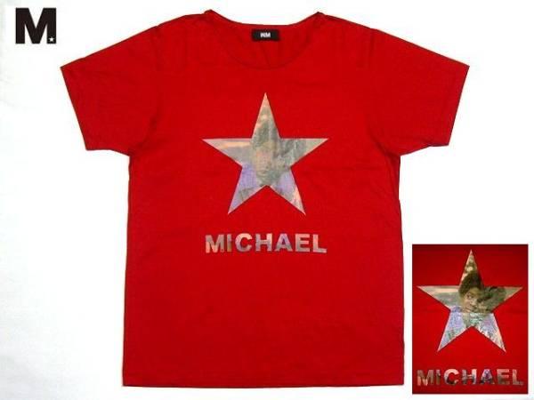 送料無料 即決 WM エム Michael Jackson マイケルジャクソン フォトプリントTシャツ L レッド 定価9,240円